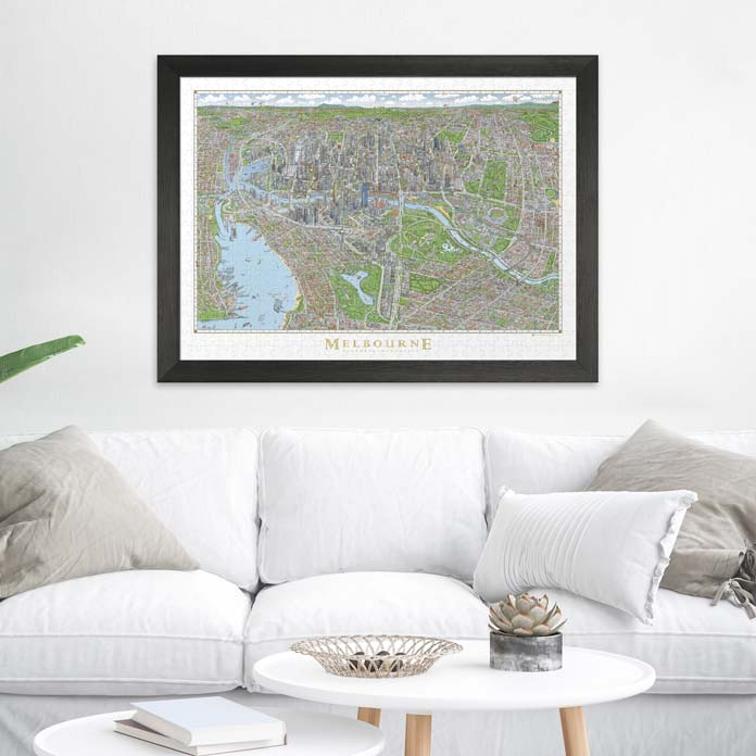 The Melbourne Map Jigsaw Puzzle Frame