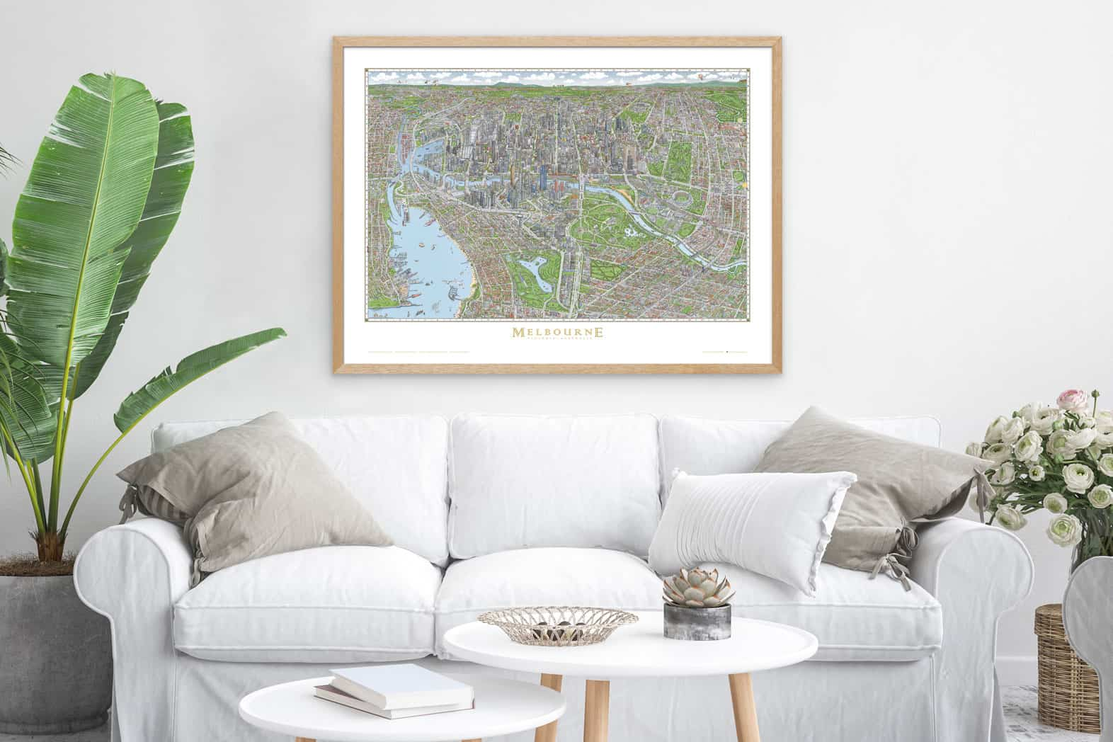 The Melbourne Map oak picture frame wooden picture frame poster frames